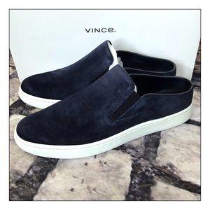 Vince Verrell Navy Blue Slip On Suede Sneakers